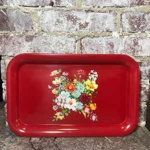VINTAGE FLORAL DISPLAY TRAY Red 1960s 1970s